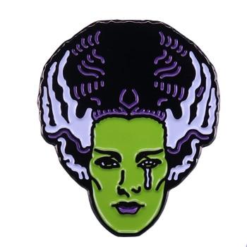 Panna młoda frankensteina odznaka królowa klasycznego horroru pin idealny dodatek Halloween