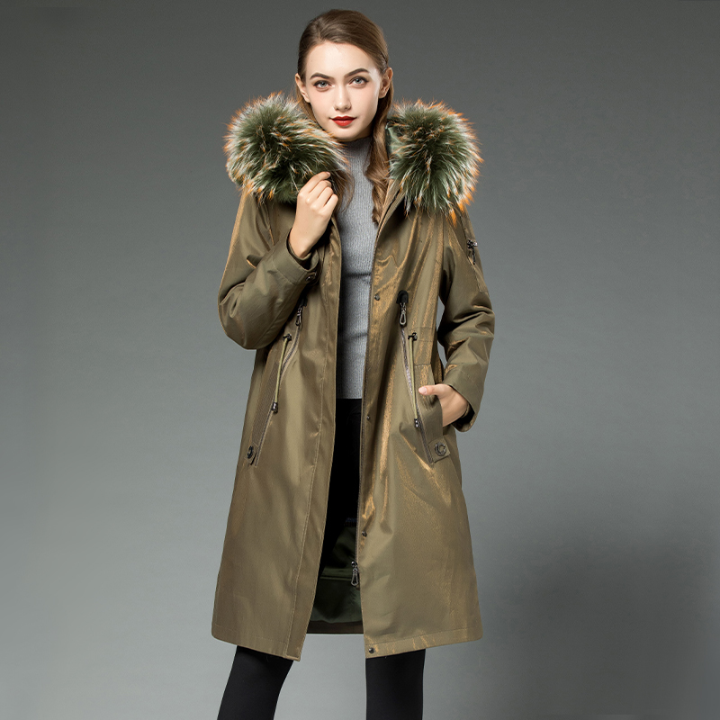 Real 2020 Fur Coat Female Real Rabbit Fur Liner Parka Winter Jacket Women Raccoon Fur Collar Korean Long Jackets MY3960 S