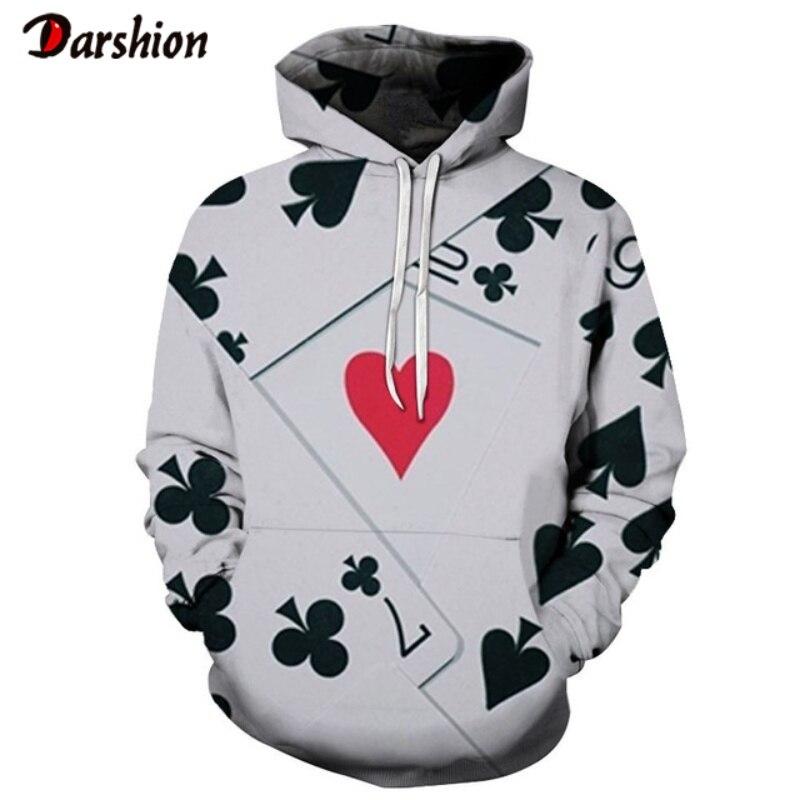Sweatshirt Men 3D Poker Print Winter Men's Hoodies Brand Plus Size XXS-4XL Printed Hoodie For Men Unisex Pullovers Dropshipping