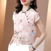Chinese Style 100% Natural Silk Women Tops Blouses 2021 Summer Elegant Stand Collar Short Sleeve Print Blouse Real Silk Shirt