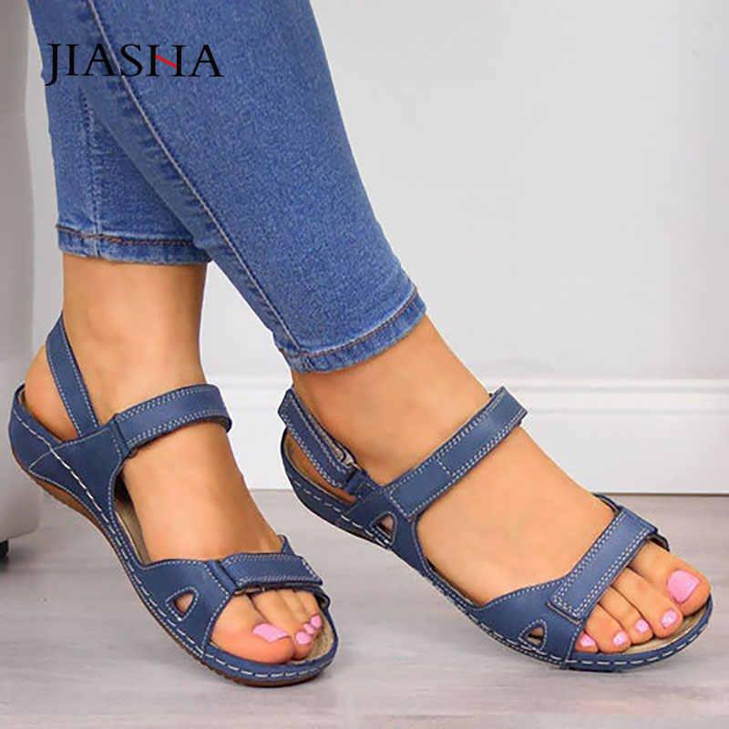 Sandały damskie 2020 nowe fashin solidne mieszkania buty kobieta hook & loop obuwie damskie sandalia feminina beach sandały letnie buty