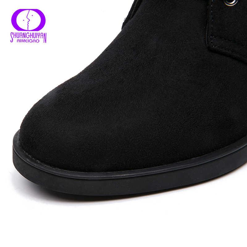 AIMEIGAO Sonbahar Kış Siyah Süet çizmeler kadın ayakkabıları Sıcak Kürk Deri yarım çizmeler Kadın Fermuar Kare Topuk Martin Çizmeler Sıcak Satış