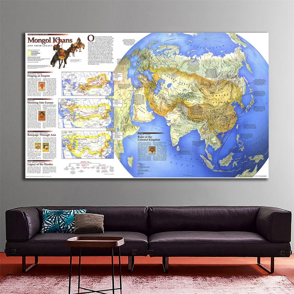 60x90cm The Wall Decor Map Of Mongal Khans And Their Legacy HD Spray Painting For Living Room Wall Decor