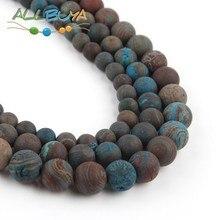 цена 4-10mm Natural Round Minerals Loose Stone Beads Matte Blue Crazy Agates Beads for Jewelry DIY Bracelet Pick Size 15 '' 6MM Beads онлайн в 2017 году