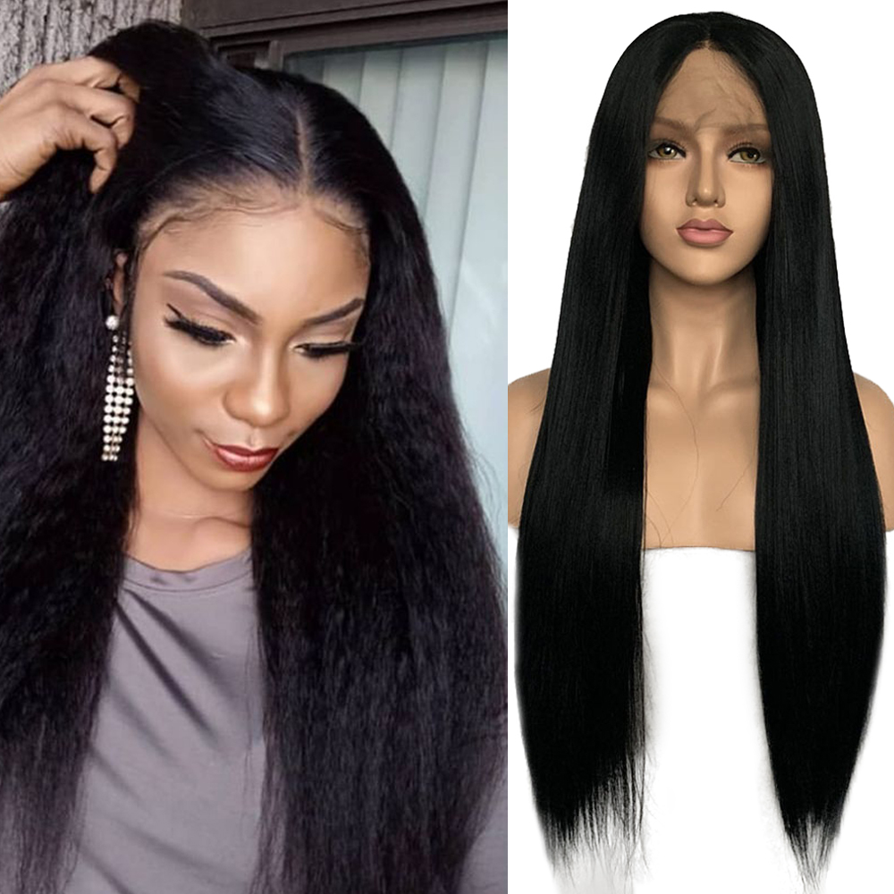 Imeya Long Yaki Straight Synthetic Lace Front Wigs Middle Part High Temperature Heat Resistant Fiber Cosplay Lace Wigs For Women