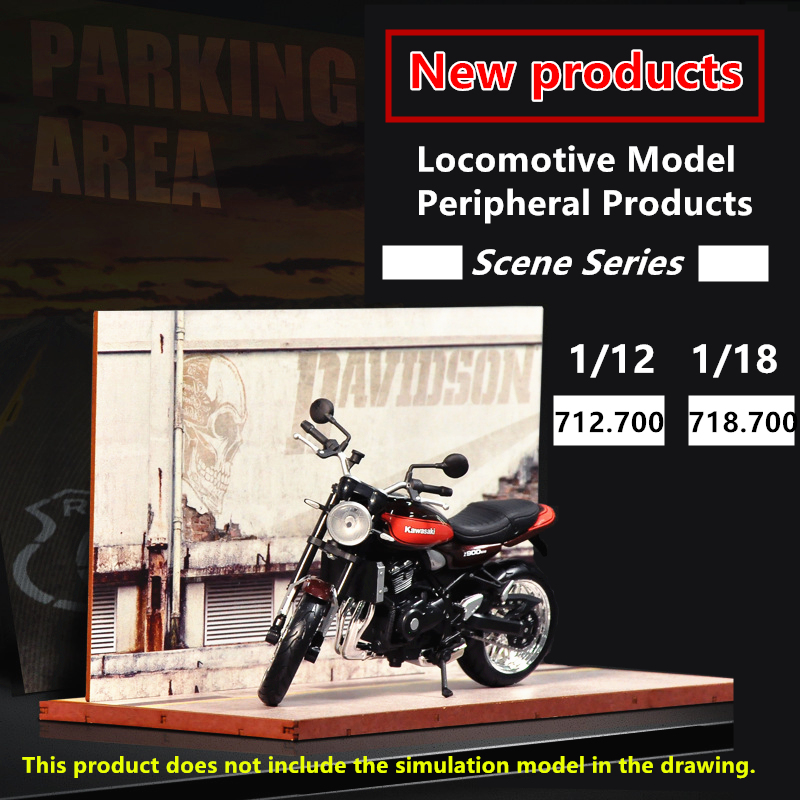 1:12/1:18 Simulation Motorcycle Scene Model Solid Wood Manual Locomotive Decoration Display Toy Collection Gift