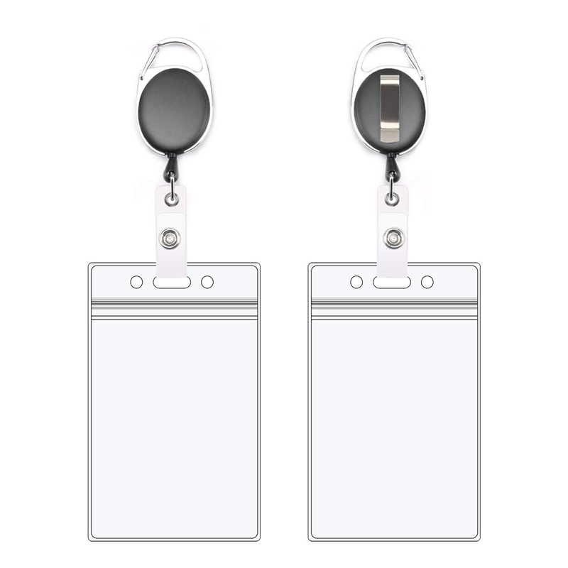 Retractable Badge Holders With Carabiner Reel Clip And Vertical Style Heavy Duty ID Card Holders