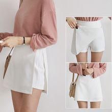 Falda de moda para mujer de pantalones cortos de P13 de cintura alta con cremallera falda de Color liso