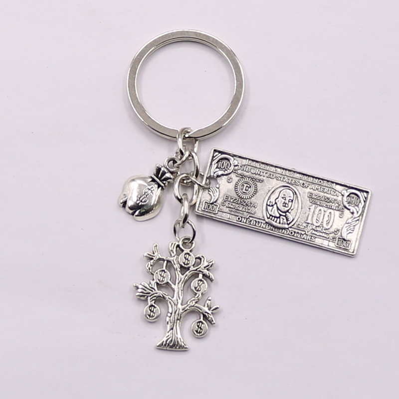 Fashion 30mm Key Chain Keychain Jewelry Silver Money Tree Purse Dollar Pendant
