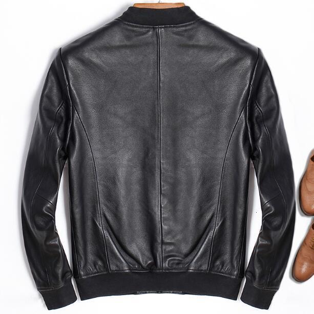 Giacca in Pelle da Uomo Slim Fit Stile Biker Moto Pelle Di Agnello Giacca in Pelle