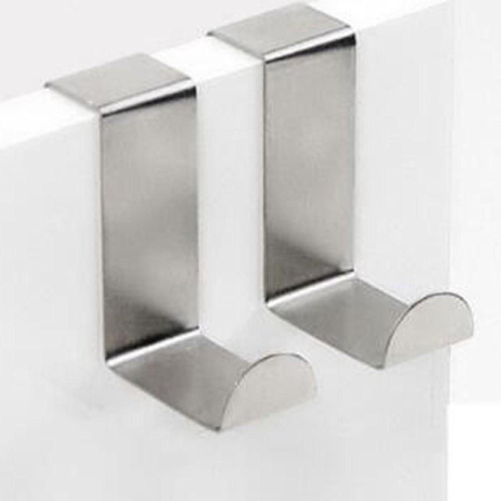 2PCS Door Hooks Stainless Hanging Kitchen Cabinet Clothes Home Storage Door Hanger