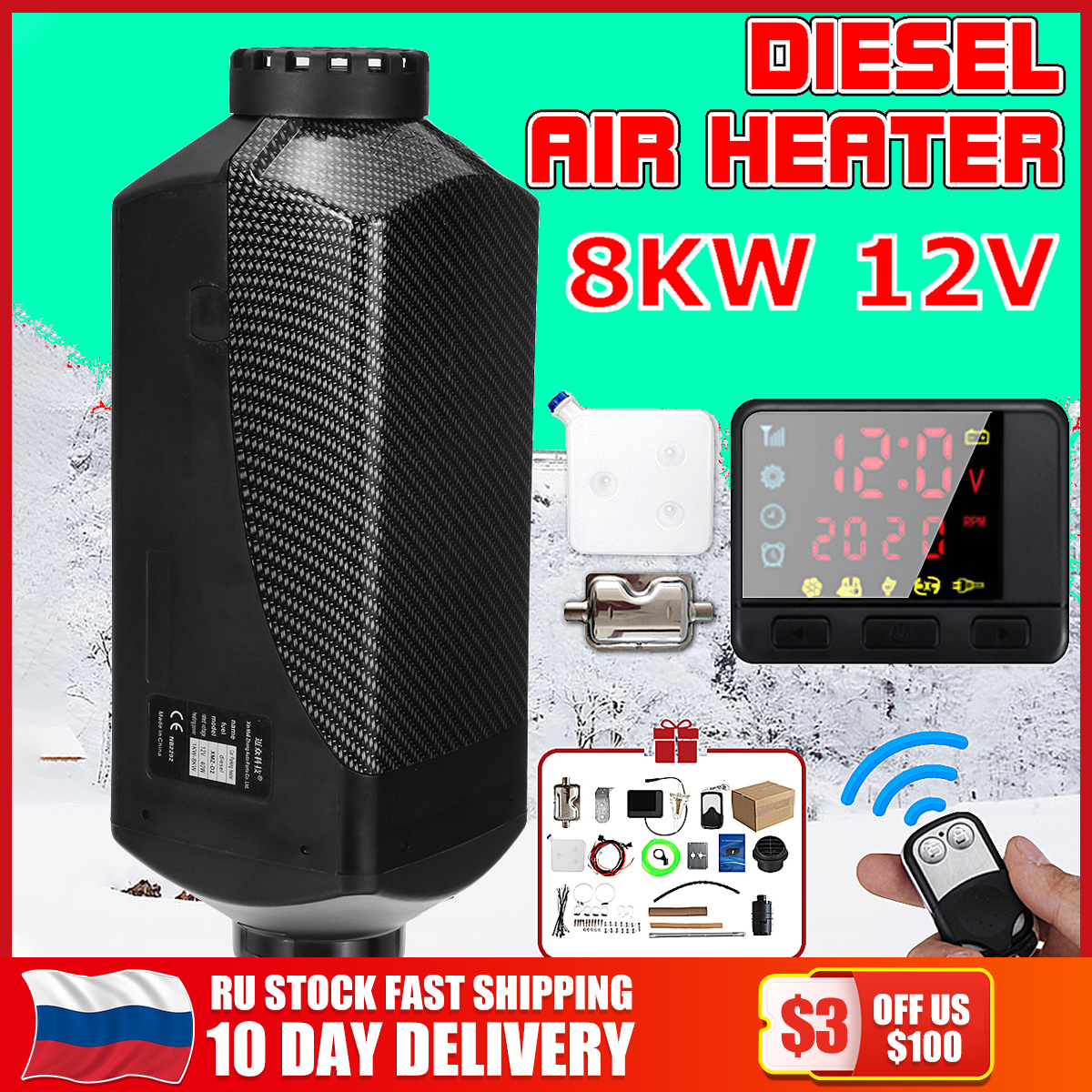 Car Heater 12V /24V 8kW for Webasto Air diesels Heater 8KW For Trucks Motor Homes Boats Bus LCD Monitor Switch +Remote Control|Heating & Fans| |  - title=