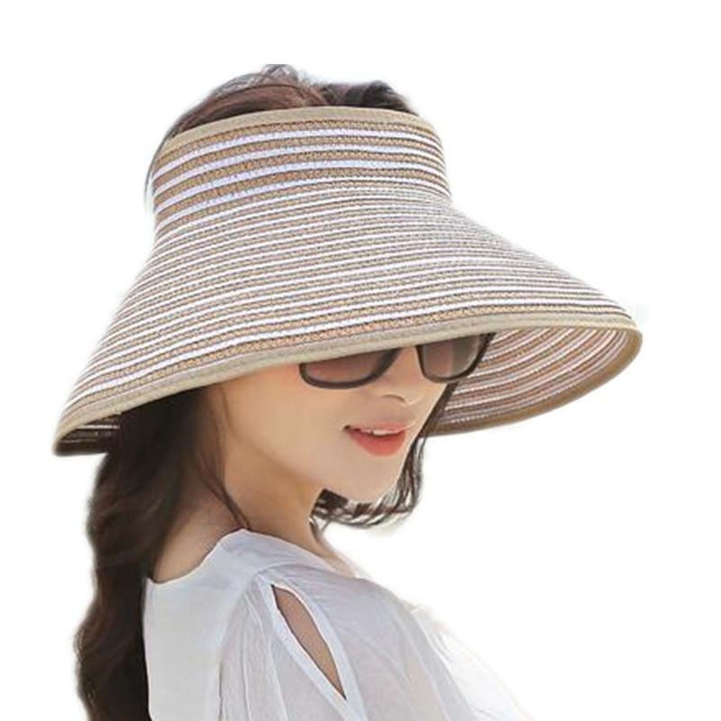 Brand New Spring Summer Visors Cap Foldable Wide Large Brim Sun Hat Beach Hats For Women Straw Hat Wholesale Chapeau