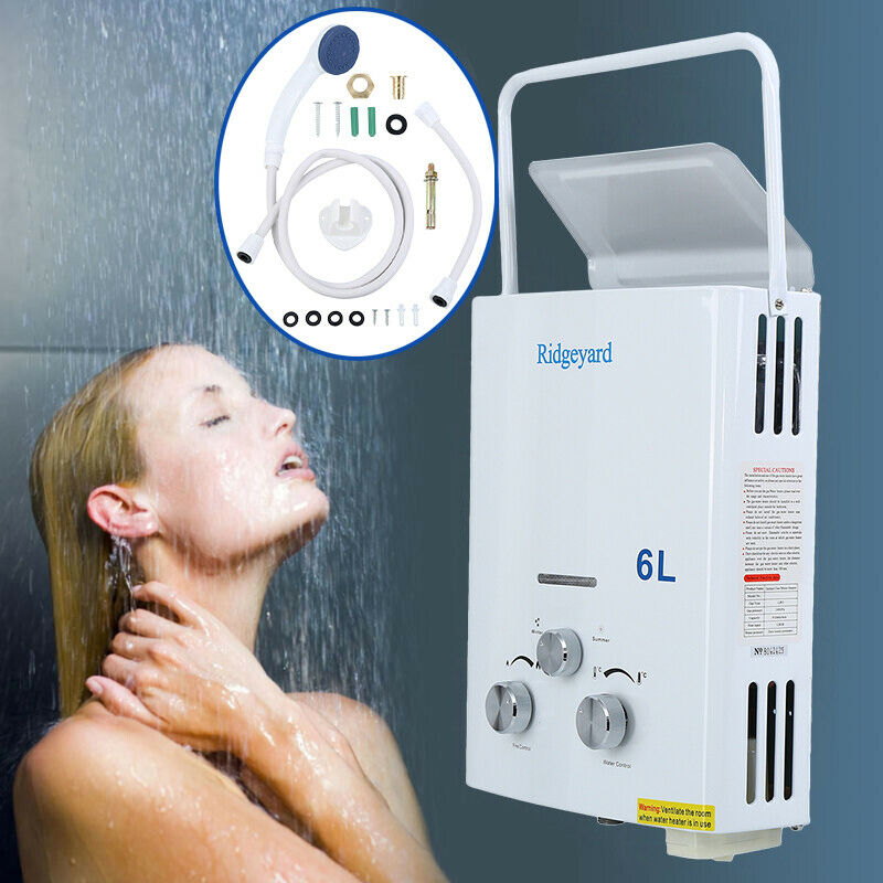 6L Propane Gas LPG Tankless Instant Water Heater Boiler With Shower Head CE