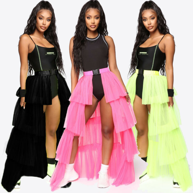 2019 New Arrivals Summer Fashion Women Womens Layer Cake Skirt Long Maxi Lace Tulle Skirts Ladies Party Wear Gown Beachwear