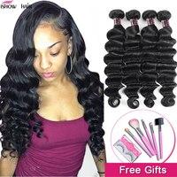 Волосы Ishow, свободные волнистые пучки, бразильские пучки волос, 100% натуральные волосы для наращивания, 1/2 пучка, не Реми, пучки волос