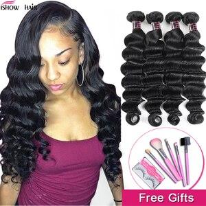 Ishow Hair Loose Deep Wave Bundles Brazilian Hair Weave Bundles 100% Human Hair Extensions 1/3/4 Bundles Non-Remy Hair Bundles(China)