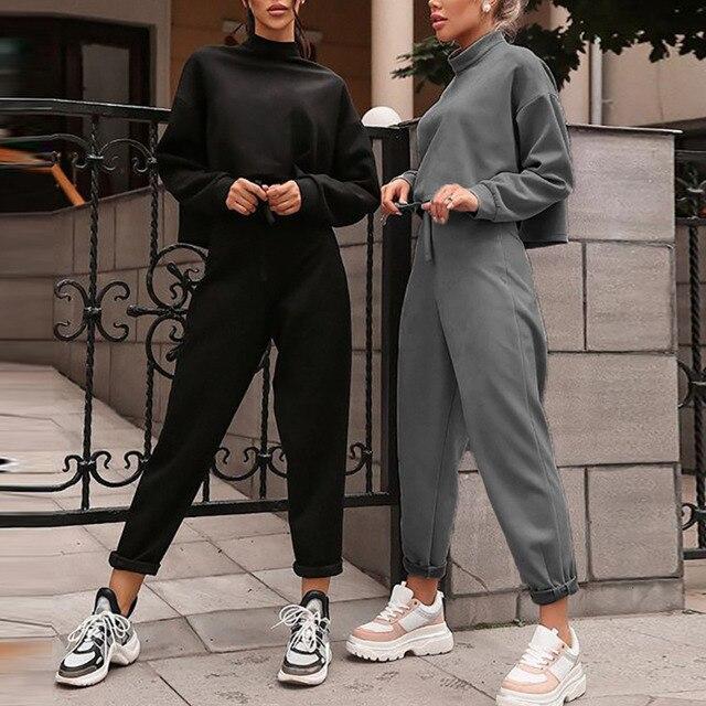 נשים שחור Loose אימונית יבול למעלה הרמון מכנסיים התאמת חליפת אופנה סתיו מזדמן נקבה ארוך שרוול סווטשירט 2 סט חתיכה