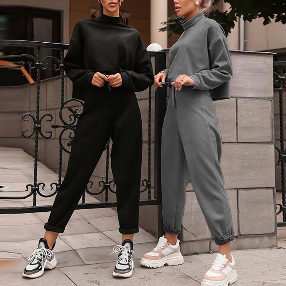 Women Black Loose Tracksuit Crop Top Harem Pants Matching Suit Fashion Autumn Casual Female Long Sleeve Sweatshirt 2 Piece Set
