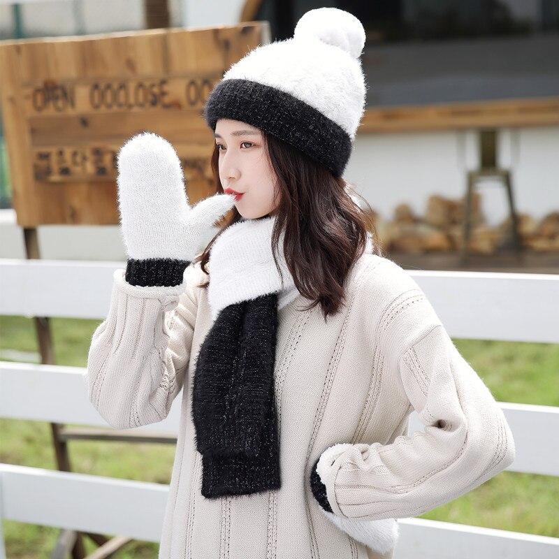 Long Hair Winter Hat Scarf Gloves Set Warm Three Sets Women Men Knitted Wool Plus Velvet Thickening Scarf Girls Women Poms Caps
