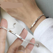 100% Solid Real 925 Sterling Silver Box Chain Link Bracelet for Women Girls Lady 21CM Women's Fine Jewelry Bracelets(China)