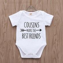 Лидер продаж, Одежда для новорожденных девочек и мальчиков, маленькие хлопковые боди, белые боди, лучшие друзья, Детские боди, детский комбинезон, 0-18 месяцев