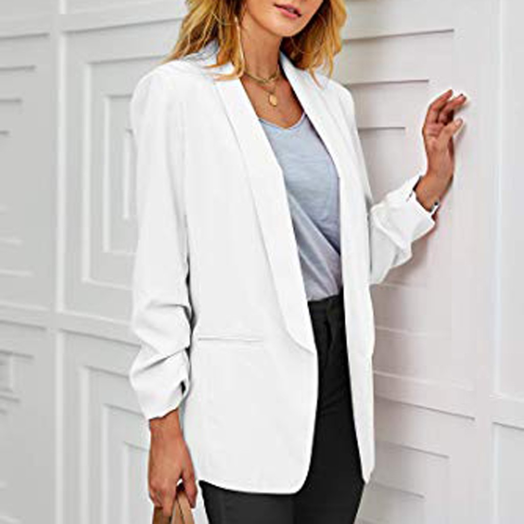 Womens Casual Ruched Long Sleeve Open Front Fit Office Cardigan  Jacket autumn winter coats and jackets women jackets