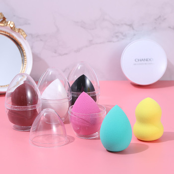 Hydrophilic Non-Latex Makeup Puff Transparent Dustproof Shell Sponge Cosmetic Egg Set 1