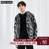 Metersbonwe 2020 New Spring Men's Casual Hooded Bomber jacket Male Fashion Sports Jacket Handsome Loose Camouflage Jacket Men