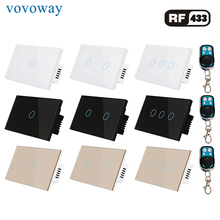 Vovovoway interruptor de toque do painel de vidro dos eua, interruptor de luz, controle sem fio rf 433mhz, bastão de parede familiar 1/2/3 gang ac110v 220v
