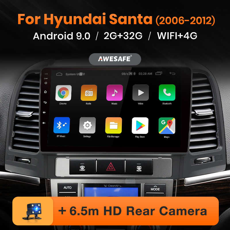 AWESAFE PX9 Hyundai Santa Fe için 2006-2012 araba radyo multimedya video oynatıcı GPS No 2 din Android 9.0 2GB + 32GB