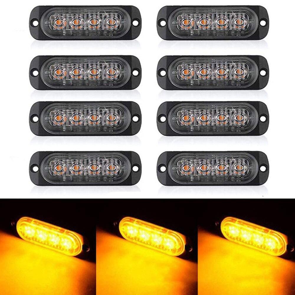 8 Pcs DC12V 2-LED Autos SUV Pickup Grille Emergency Beacon ...