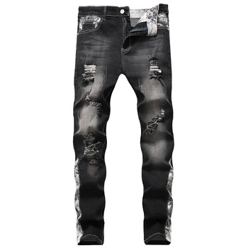 New Fashion Men Black Jeans Stretchy Pants Ripped Jeans For Male  Casual Slim Fit Street Print Elastic Jeans Men Designer Pants