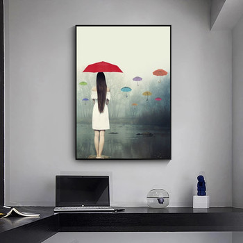 Woman with Umbrella In The Rain Painting Printed on Canvas 4