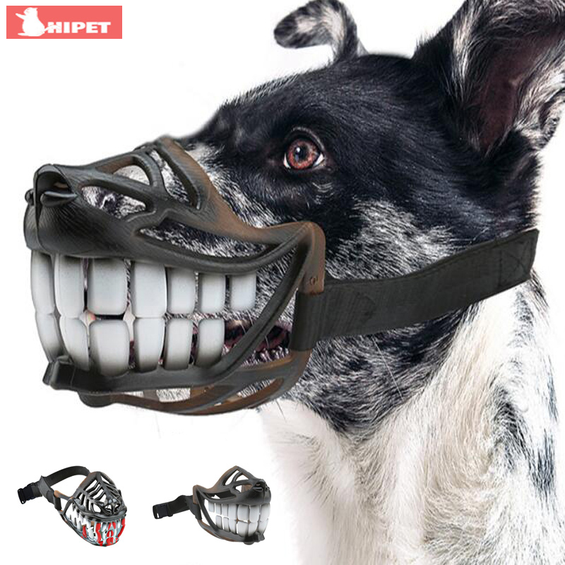 Funny Dog Muzzle Mask Adjustable Pet Dogs Mouth Cover Breathable Anti Bark Bite Chew Safety Medium Large Dogs Mouth Guard