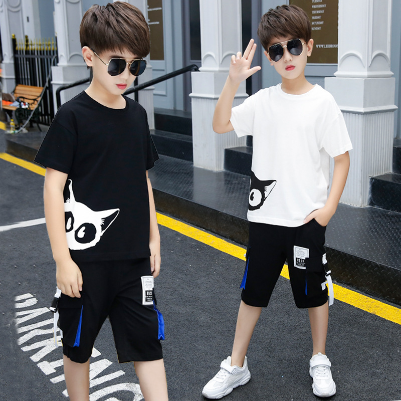 2020 New Summer Boys Clothing Sets Children T-shirt Short Sleeve +Pants Set Two Pieces Set Kids Baby Boys Clothes 3-13 Years Old