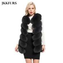 Long-Vest Waistcoat Fur Gilet Women Real-Fox-Fur Winter New Warm Thick Fashion Casual