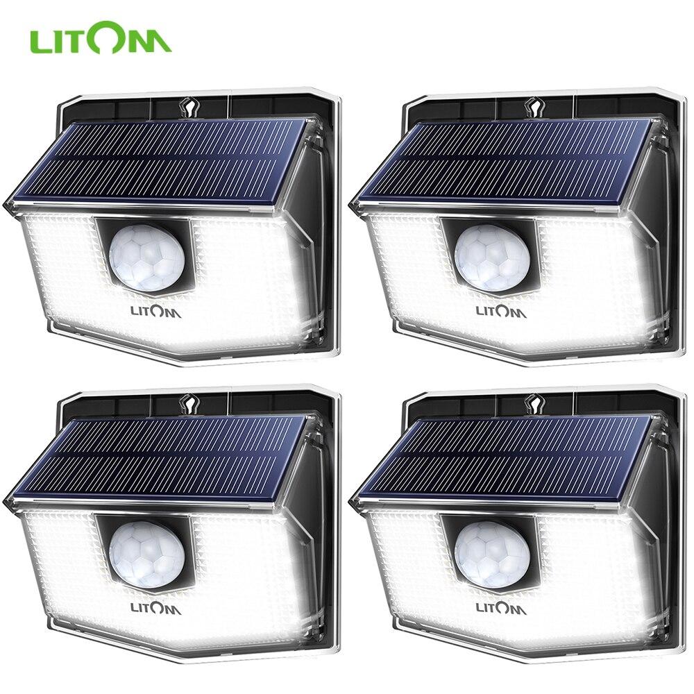 4Pcs/lot LITOM 60LEDs Solar Garden Lights IPX67 Waterproof Wide Angle Solar Motion Sensor Upgraded Wall Lights New Lampe Solaire