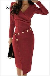 Image 2 - Женское асимметричное платье средней длины, повседневное однотонное платье с разрезом, украшенное бусинами, на пуговицах, для офиса и вечеринок, 2020