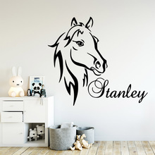Artistic horse Wall Sticker Custom name Wallpaper For Kids Rooms Wall Decals Baby Stickers Poster paarden muursticker