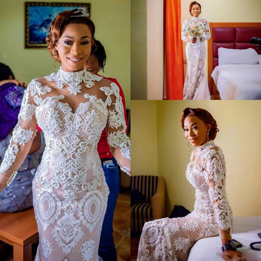 High Neck Long Sleeve Mermaid Wedding Dresses 2020 Luxury Lace Applique nude lining African Bride Party Dancing Wedding Gown