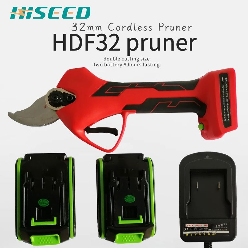 HISEED Electric Pruning Scissors 32mm Pruning Shears 21V Lithium Battery Garden Pruner Progressive cutting Electric Scissors     - title=