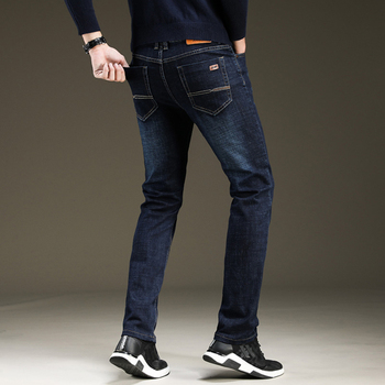 Brand 2020 New Men's Fashion Straight Jeans Business Casual Stretch Slim Jeans Classic Trousers Denim Pants Male Black Blue simwood brand 2016 men s jeans straight fit denim trousers famous brand pants blue casual long pants jeans free shipping sj629