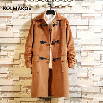 2019 autumn winter newstyle coat Men's casual coats Horn Button trench coat Men fashion jackets high quality overcoat large size