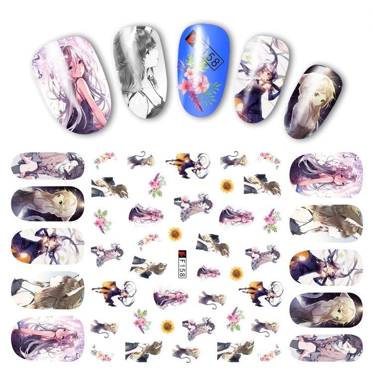 Nail Sticker Decals 3D Nails Slider Art Anime Princess Girl Design Decoration Manicure Adhesive Tips Foil Wraps Pegatinas Polish