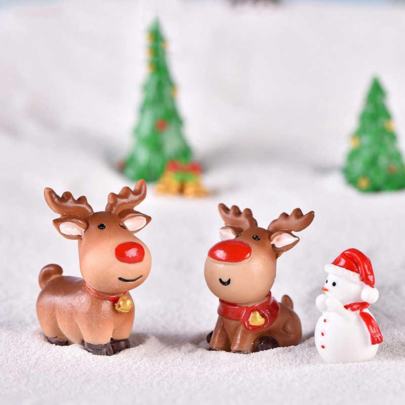 1 adet noel peri bahçe dekor kar manzara Model tren teraryum figürler minyatür noel baba kızak ren geyiği hediye