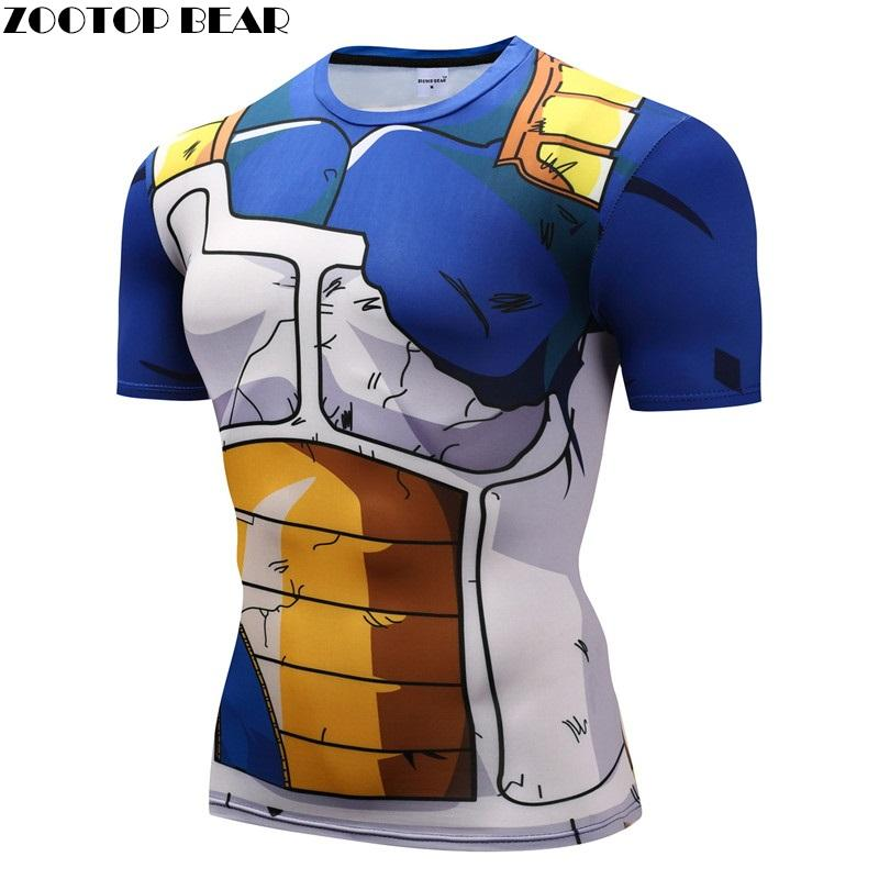 Dragon Ball Z t-shirts hommes Compression chemises Anime manches courtes T-shirt Fitness hauts végéta Goku Cool drôle Fitness t-shirts image