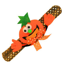 Pumpkin funny evil bracelet Sparkling Bow Arm Warmers Halloween Dance Show kids Pumpkin Bat Sequins Glow Decorative Bracelet(China)