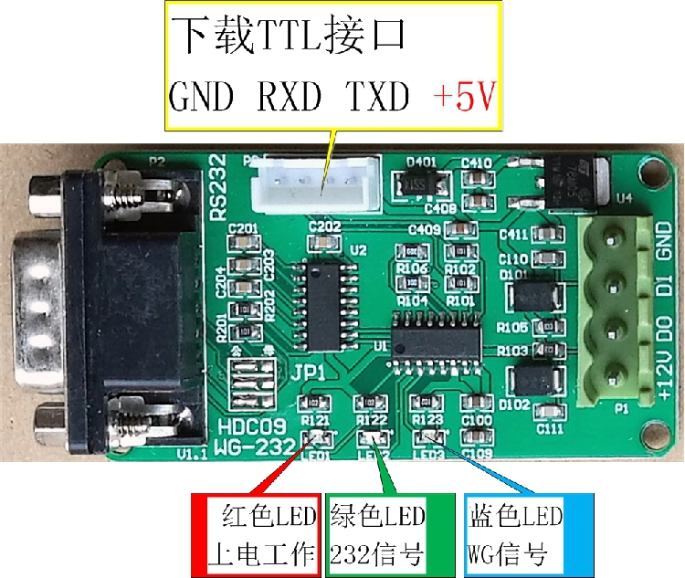 Wiegand Converter, WG26/34 to RS232 Serial Port, Two-way Interchange / ASCII Text Input and Output
