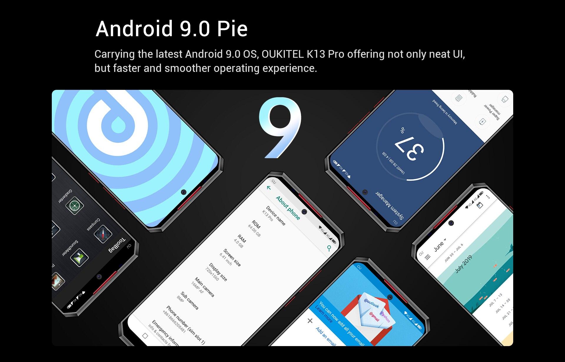 "OUKITEL K13 Pro Android 9.0 Mobile Phone 5V/6A 11000mAh Octa Core 6.41"" 19.5:9 Screen 4G RAM 64G ROM OTA NFC Face ID Smartphone"